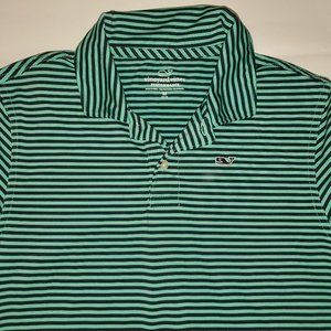 Boys Vineyard Vines Green Striped Performance Polo